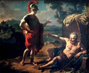Encuentro Alejandro Magno y Diógenes